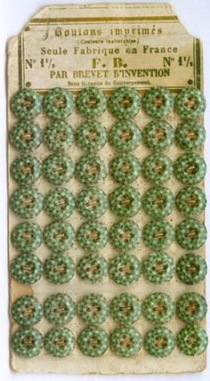 Whole set of Vintage green Calico buttons.  Also the link takes you to a super article about calico and china buttons.