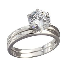 Nexte Jewelry Sterling Silver Round Cubic Zirconia Bridal-style Ring Set (Sterling Size 6), Women's (suede)