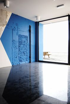 Blue painted selection on the wall