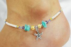 Anklet Ankle Bracelet Starfish Charm Light by ABeadApartJewelry, $13.50