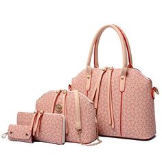 Women's 4-PC PU Leather Elegant Fashion Handbag Set 5 Colors
