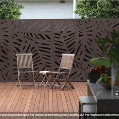 OutDeco Screen Marakesh Brown - Connollys Timber Flooring and Decking Melbourne Outdoor Wall Panels, Outdoor Metal Wall Art, Outdoor Walls, Outdoor Furniture Sets, Outdoor Decor, Garden Privacy Screen, Privacy Screens, Decorative Screen Panels, Garden Screening