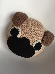 Crochet Pug Pillow by PeanutButterDynamite on Etsy