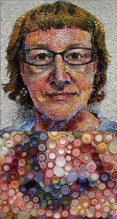 Plastic Bottle Top Portrait by Mary Ellen Croteau www.maryellencroteau.net  Bottom is detail of nose area.