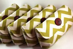 Set of 5 / More colors available / Bridesmaids clutches / Chevron / Yellow / Aqua / Grey / Red / Green // Rustic country wedding. $150.00, via Etsy.