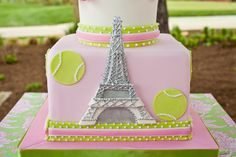 Eiffel tower, pink and green, tennis themed birthday cake; Event styled by Washington DC event planner Petite Social on Fortique