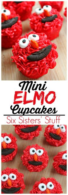 Mini Elmo cupcakes from Sixsistersstuff.com