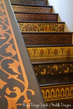 Stenciled stair risers in Royal Design Studio. Created with Modello Designs vinyl stencils and stains using a Faux Marquetry technique.