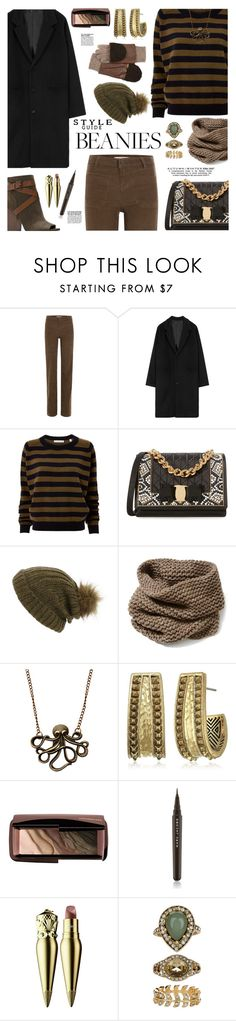 """""""Hat Head: Pom Pom Beanies"""" by sinesnsingularities ❤ liked on Polyvore featuring Vanessa Bruno, Vince, Salvatore Ferragamo, Maison Scotch, Lafayette 148 New York, House of Harlow 1960, Marc Jacobs, Christian Louboutin, Accessorize and contestentry"""