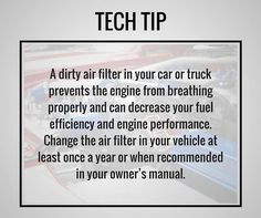 Have you checked the air filter in your vehicle lately? #TipTuesday