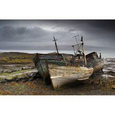 Shipwreck Isle Of Mull Scotland Canvas Art - John Short Design Pics (34 x 22)