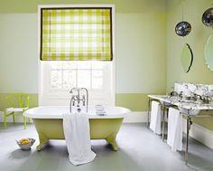 Bath & wall borders in Churlish Green Estate Emulsion & Modern Emulsion,  Walls in Green Ground Modern Emulsion,  Woodwork in James White Estate Eggshell