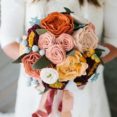 bride's handmade wool felt flower bouquet by goldenafternoonmade --if I had known, I might have done this for my wedding bouquet. and keep it forever! Felt Flower Bouquet, Ribbon Bouquet, Succulent Bouquet, Felt Flowers, Diy Flowers, Fabric Flowers, Paper Flowers, Fabric Bouquet, Felt Diy