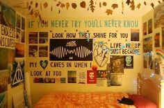 ♡Tumblr Bedrooms♡ love how theres quotes and pictures all over the walls
