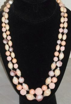 Vintage Peach Faux Stone Beads Beaded 2 Strand Necklace Hong Kong by ShonnasVintage, $7.99