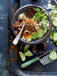 // vietnamese bun cha with sticky spicy tofu http://www.jamieoliver.com/recipes/vegetables-recipes/vietnamese-bun-cha-with-sticky-spicy-tofu/