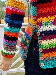 Boho Crochet, Crochet Cardigan, Knit Crochet, Granny Square Sweater, Yarn Bombing, Handmade Clothes, Crochet Clothes, Crochet Patterns, Final Sale