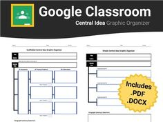 This central idea graphic organizer is Google Classroom ready. No more messy formatting errors upon converting from .pdf or .docx to Google Docs; however, these file formats are also included in the download for your convenience. Using this graphic organizer students will be able to determine the central idea of a focus text and explain how it is supported using textual evidence.