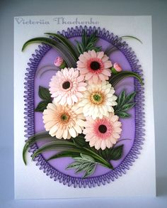 Quilling greeting card - Pink gerbera flowers - Birthday quilling greeting card - Anniversary quilling greeting card - Quilled card