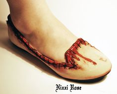 Zombie flesh skin flats pumps by NixxiRose on Etsy, $75.00 Perfect for Silent Hill nurse costume. <3