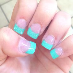 Just for my nails done. Acrylic Tiffany blue and glitter !