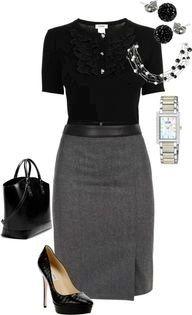 Again, black pumps, black tee and grey or black pencil skirt
