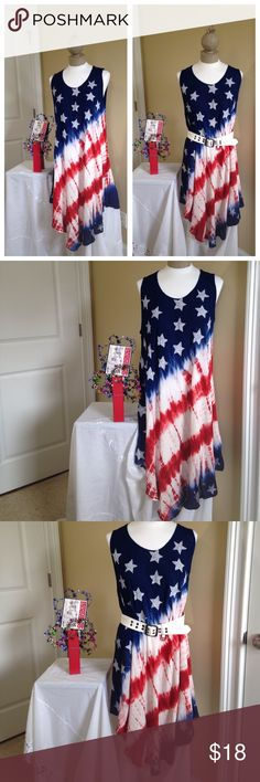 """🆕FREE SIZE patriotic stars and stripes Dress Brand-new just in time for July 4 celebrations. Free size by Ace fashion fits More toward XXL or larger. Can be worn with or without a belt. ** Belt NOT included** Very Flowy. Laying flat: armpit to armpit 25"""", Beautiful asymmetrical hemline produces varied lengths from shoulder. 35"""" in some places, 39"""" in others. Stars (on the front only) have glittery silver splashes in the middle. Ace Fashon Dresses Asymmetrical"""