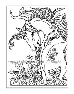 SET of FOUR different UNICORNS - Posters or coloring pages; art,  flowers, prancing, rearing, butterflies, coloring, for ladies and girls,