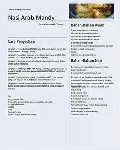 Nasi Arab Mandy My Recipes, Asian Recipes, Chicken Recipes, Cooking Recipes, Healthy Recipes, Ethnic Recipes, Arabian Food, Indonesian Cuisine, Malaysian Food