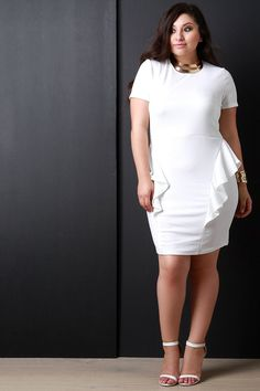 TEXTURED KNIT RUFFLE PEPLUM DRESS. This plus size dress features a texturized knit fabrication, round neckline, short sleeves fit, and pencil skirt with ruffled peplum design.