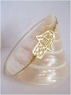 Gold Hamsa bangle  Middle east style  Hamsa bracelet  by Cecileis, $12.00