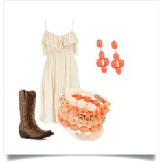 Dress with Cowboy boots, Coral accessories created by luvpugs on Polyvore