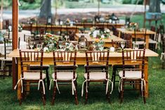 wooden reception tables