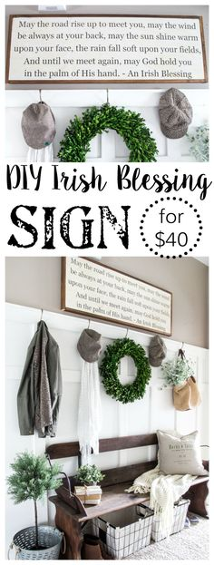 DIY Irish Blessing Sign and Entryway | blesserhouse.com - This is so cute! These farmhouse signs normally cost $150+! Sweet St. Patrick's Day decor that works year-round.