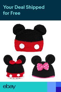 9a5022a3266 Mickey Minnie Mouse Ear Hat Newborn Baby Kids Girls Boys Crochet Knit Cap  Hats