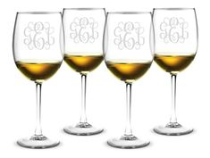 Monogrammed All Purpose Wine Glass Set