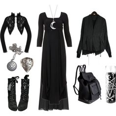 Strega Style #1 by grimoire-grotto on Polyvore featuring мода, Ischiko, Two by Vince Camuto, Pieces, Unearthen, Blue Nile, Boris Bidjan Saberi and strega
