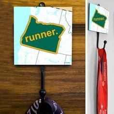 Oregon State Runner (Green/Yellow) Medal Hook   Running Medal Hooks   Running Gifts