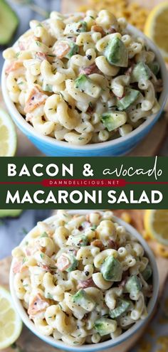 Look no further than the best macaroni salad ever! Tossed in a creamy lemon-thyme dressing with avocado and bacon, this simple summer salad is out of this world. Pin this easy pasta salad recipe for later! Fresh Salad Recipes, Easy Pasta Salad Recipe, Easy Pasta Recipes, Healthy Salad Recipes, Healthy Breakfast Recipes, Baby Food Recipes, Cooking Recipes, Slow Cooker Recipes, Chicken Recipes
