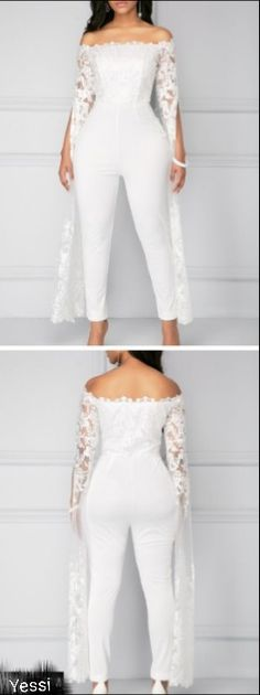 Lace Panel White Off the Shoulder Jumpsuit.Trending styles like this white lace .Lace Panel White Off the Shoulder Jumpsuit.Trending styles like this white lace jumsuit with an off the shoulder design.Its a unique find thats perfec. Wedding Attire, Wedding Gowns, White Off Shoulder, African Fashion, White Lace, Plus Size Fashion, Fashion Dresses, Dress Up, Bridesmaid Dresses