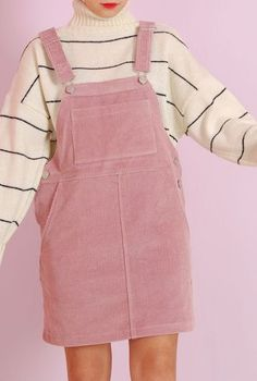$55 Super Cute Pale Pastel Pink Corduroy Dunagree Pinafore Dress With Over-Sized Cream And Black Striped Turtleneck Sweater