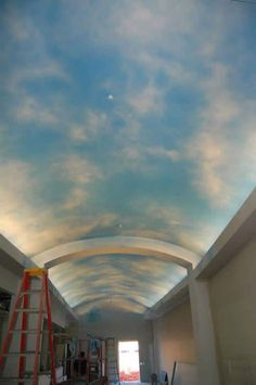 Sky Mural somewhere somehow Ceiling Murals, Mural Wall Art, Ceiling Decor, Ceiling Design, Faux Painting, Mural Painting, Future House, My House, Cloud Ceiling