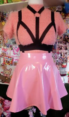 PASTEL GOTH pink harness PVC skater skirt with removable bow