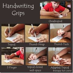 Types of handwriting grips.   FYI: Love this OT, Pediatric Occupational Therapy Site. It's easy to use with good pics.
