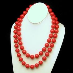 Vintage Chunky Necklace 2 Multi Strands Extra Large Red Acrylic Beads, $39.95 from http://stores.ebay.com/My-Classic-Jewelry-Shop. A great looking vintage necklace with 2 strands of red Acrylic beads. :)