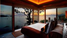 Panoramic Bedroom Windows ~ I'd love to wake up everyday and fall asleep with this beautiful view!