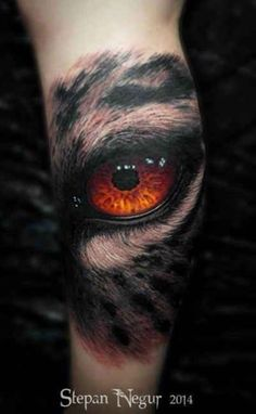 3D Tattoo eye with tiger skin - http://tattootodesign.com/3d-tattoo-eye-with-tiger-skin/ | #Tattoo, #Tattooed, #Tattoos