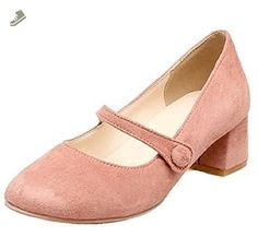 Easemax Women's Sweet Button Strap Mid Chunky Heel Faux Suede Round Toe Low Top Pumps Shoes Pink 7.5 B(M) US - Easemax pumps for women (*Amazon Partner-Link)