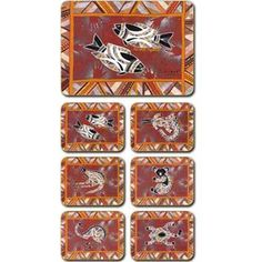 Aboriginal Design Bush Dreamtime placemats and coasters, set of 6