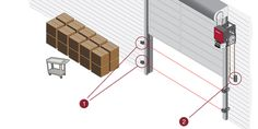 LiftMaster Motorized Commercial Overhead Door Operators Allow Business Owners to Remotely Open and Close Garage Doors Providing Convenience and Security. Commercial Garage Doors, Garage Door Opener, Business, Store, Business Illustration